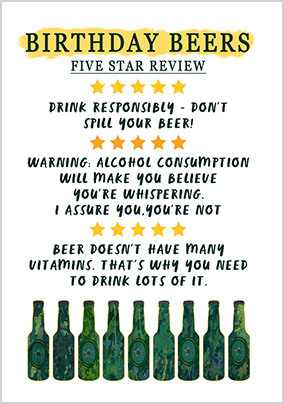 5 Star Birthday Beers Card