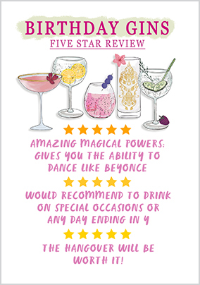 5 Star Birthday Gins Card