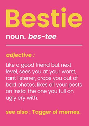 Bestie Funny Birthday Card