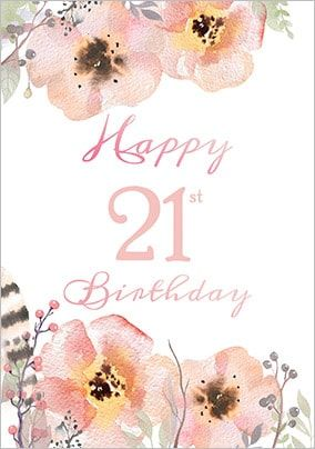 Floral Boutique 21st Birthday Card