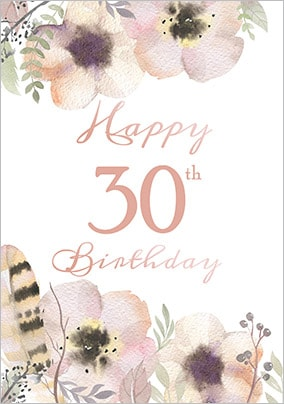 Floral Boutique 30th Birthday Card