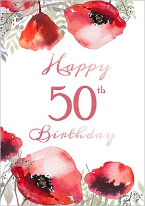 Floral Boutique 50th Birthday Card