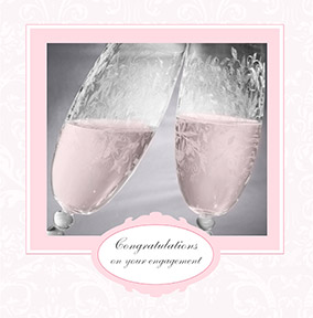 Champagne Flutes Engagement Card