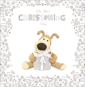 Cute Dog & Gift Christening Card