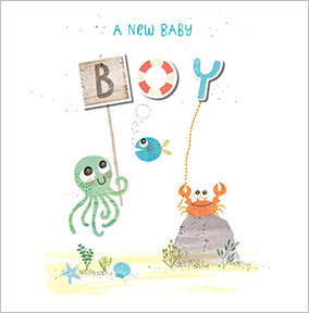 Baby Boy Congratulations Card - Octopus & Crab