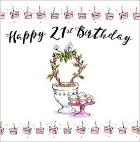 Topiary  Cupcakes 21st Birthday Card