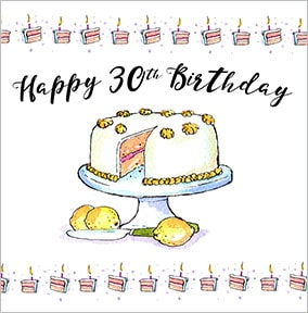 Awe Inspiring Lemon Cake 30Th Birthday Card Funky Pigeon Birthday Cards Printable Riciscafe Filternl