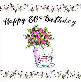 Tea Roses 80th Birthday Card YES Preview Image Is Not Found