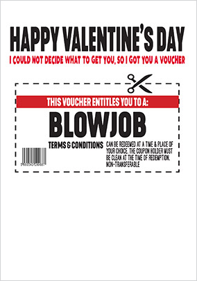 Blowjob Voucher Valentine's Day Card