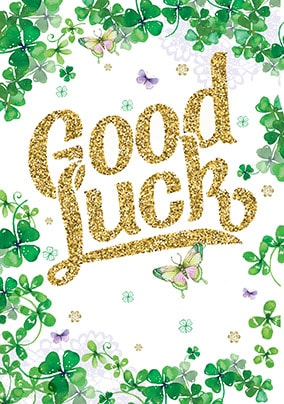 Green Clovers Good Luck Card