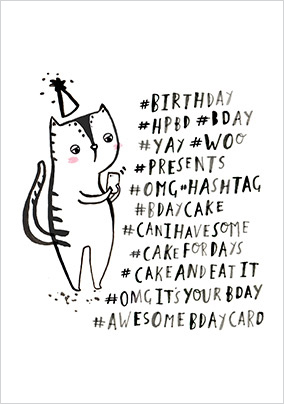 Cat Hashtags Birthday Card
