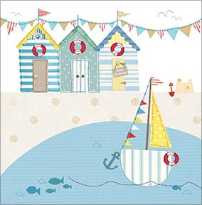 Beach Huts and Sail Boat Greeting Card