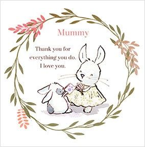 Fluffy Rabbit Thank You Mummy Card