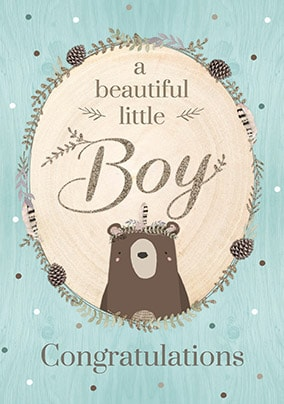 Beautiful Little Boy New Baby Card - Winter Wonderland