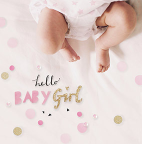 Hello Baby Girl Confetti Card