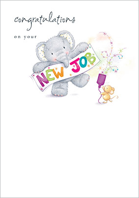 Elephant & Mouse New Job Congratulations Card