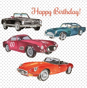 Classic Cars Birthday Card