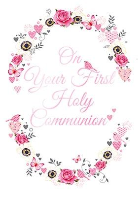First Holy Communion Pink Card