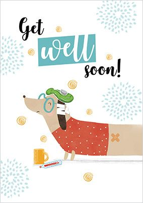 Get Well Soon Sausage Dog Card