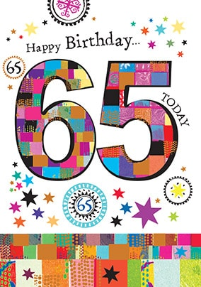 65 Today Birthday Card - Mosaic