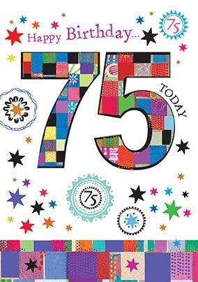 75 Today Birthday Card - Mosaic