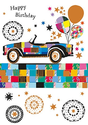 Car With Balloons Birthday Card
