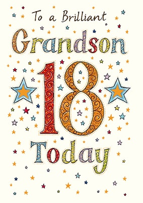 Brilliant Grandson 18th Birthday Card