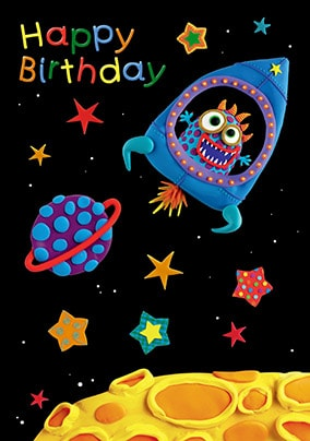 Alien Rocket Birthday Card