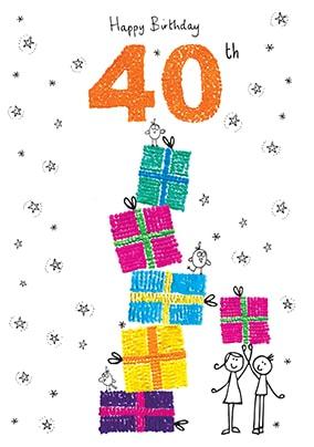 Happy 40th Birthday Card - Sugar Pips