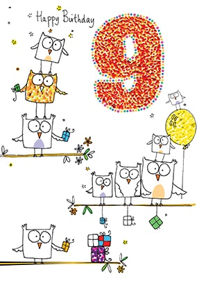 Happy 9th Birthday Card - Sugar Pips