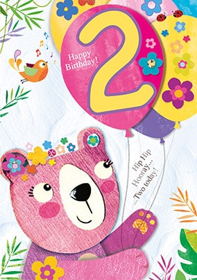 2nd Birthday Bear Card - JoJo's Jungle