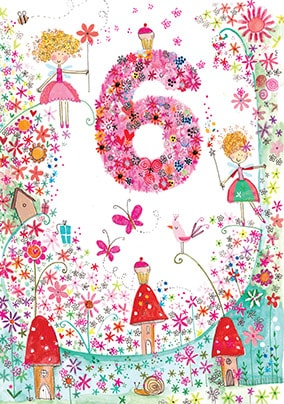 6th Fairy Toadstools Birthday Card - Daisy Patch