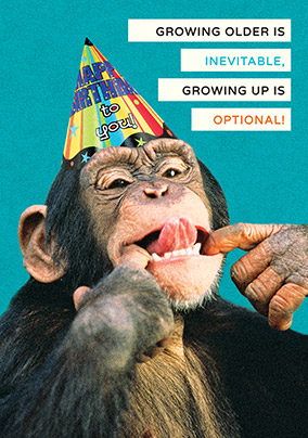 Growing Up Monkey Birthday Card