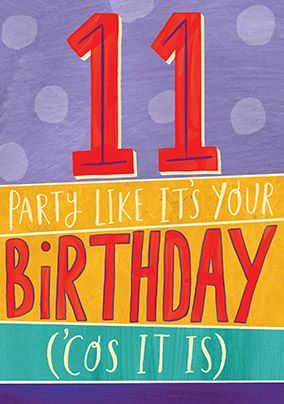 11 Party Birthday Card