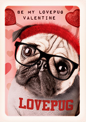 Be my Love Pug Valentine's Day Card