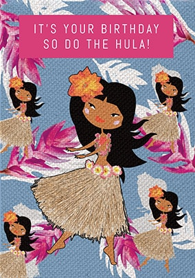 Hula Girl Birthday Card