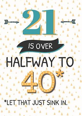 21 Is Over Halfway To 40 Birthday Card