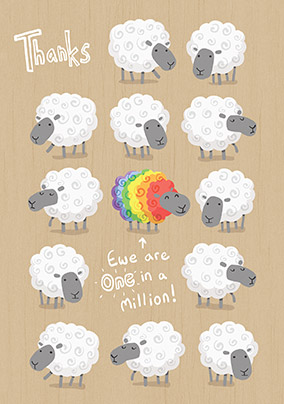 Ewe are one in a Million Thank You Card