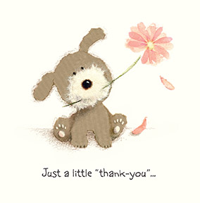 Cute Dog and Flower Thank You Card