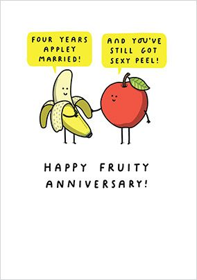 4 Years Appley Married Anniversary Card