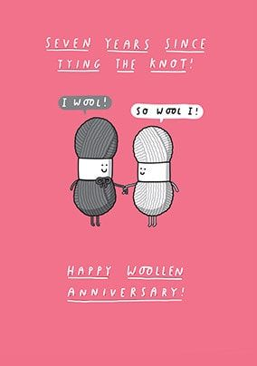 7 Years Cute Woollen Anniversary Card