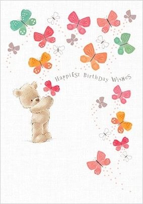 Birthday Wishes Bear and Butterflies Card