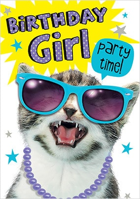 Birthday Girl Cat Card