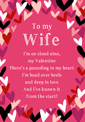 Head over Heels Wife Valentine's Day Card