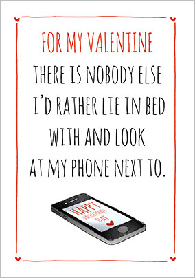 Bed and Phone Valentine's Day Card