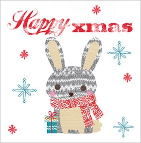 Festive Grey Bunny Christmas Card