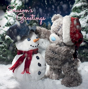 Bear & Snowman Me To You Christmas Card