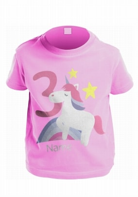 Age 3 Personalised Unicorn Kids T Shirt