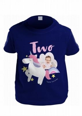 f916e1c0 age two unicorn photo kids t-shirt