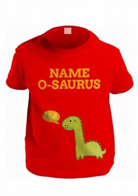 Kids Personalised Dinosaur Name T Shirt